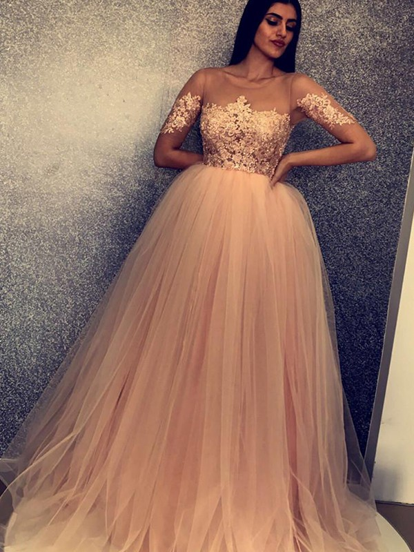 Ball Gown Scoop Brush Train Brown Tulle Prom Dresses