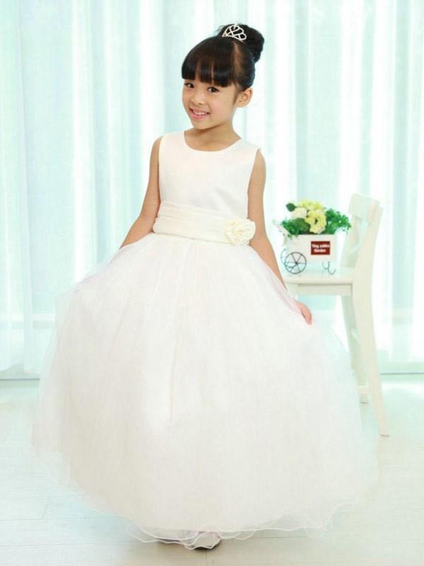 A-Line Scoop Floor-Length White Flower Girl Dresses