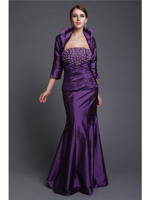 Mermaid Strapless Floor-Length Lilac Mother of the Bride Dresses