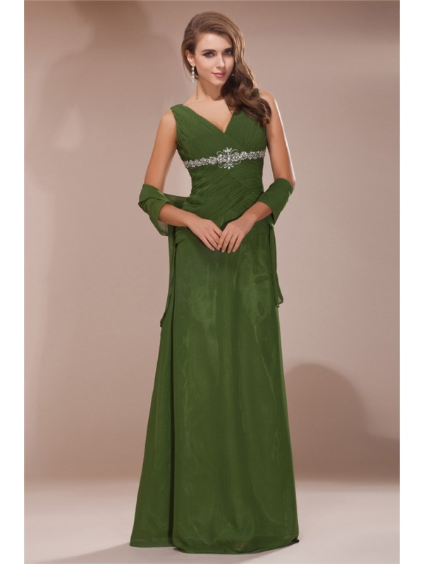 Green V-neck Chiffon Floor-Length Mother of the Bride Dresses