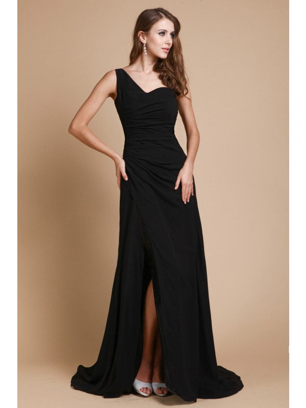 Chiffon One-Shoulder Brush Train Black Prom Dresses