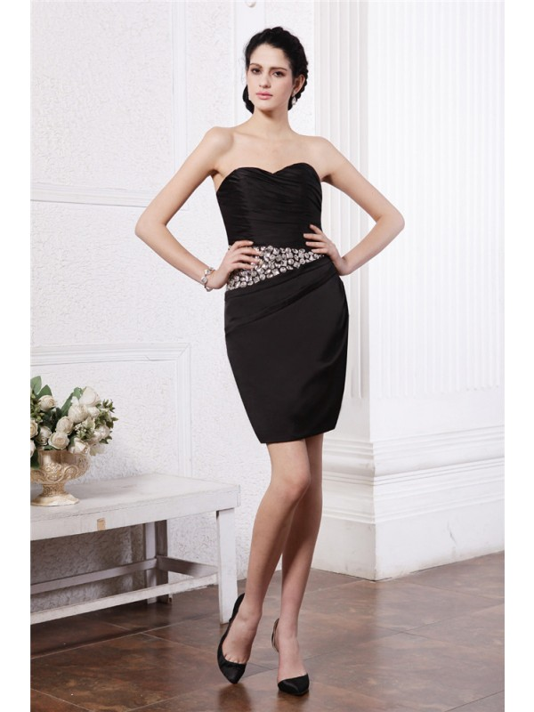 Black Sweetheart Chiffon Short/Mini Homecoming Dresses