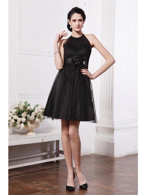 A-Line Scoop Short/Mini Black Homecoming Dresses