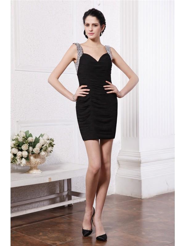 Sheath Chiffon Straps Short/Mini Black Homecoming Dresses