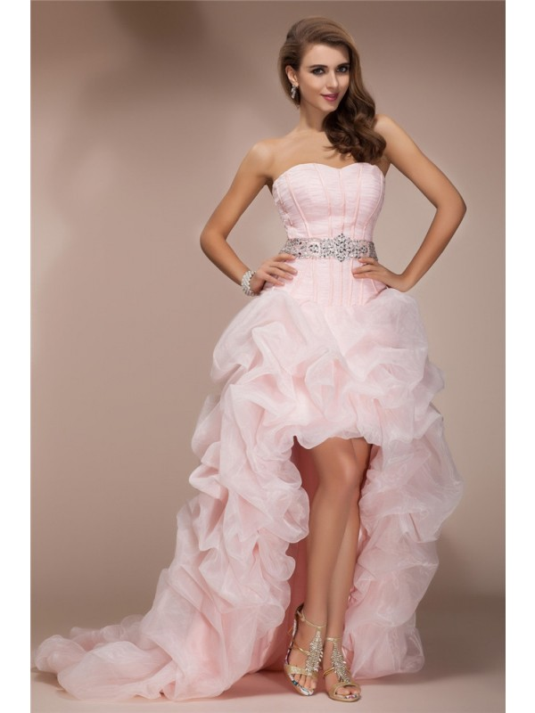 Pink A-Line Sweetheart Asymmetrical Prom Dresses with Beading