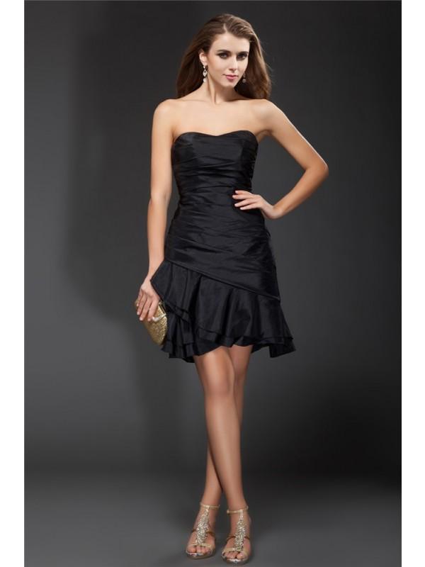 Black Strapless Taffeta Short/Mini Homecoming Dresses