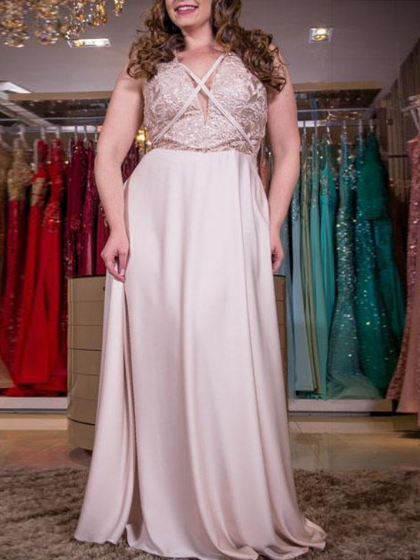 A-Line Elastic Woven Satin V-neck Floor-Length Pearl Pink Prom Dresses