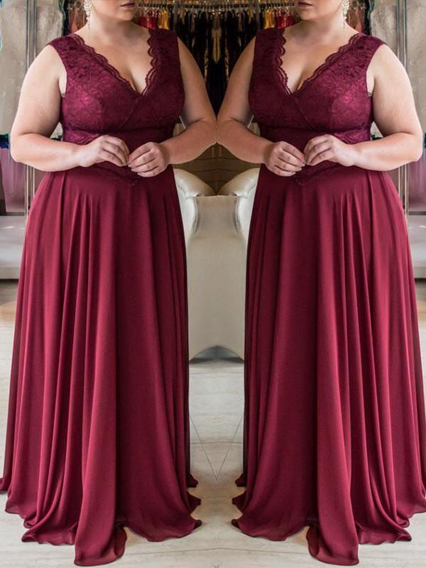 A-Line V-neck Brush Train Burgundy Prom Dresses