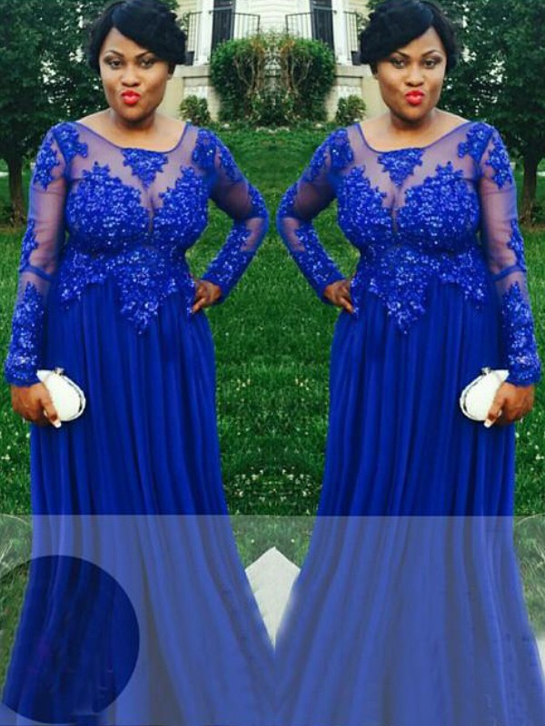 Chiffon Long Sleeves Sheer Neck Floor-Length Royal Blue Prom Dresses