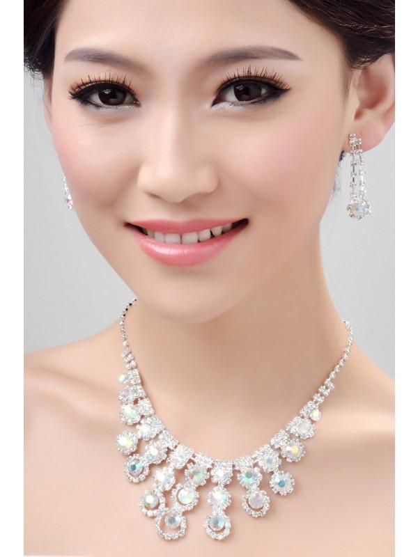 Nice Alloy Rainbow Wedding Necklaces Earrings Set