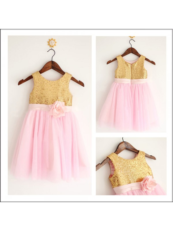 A-Line Tulle Scoop Long Flower Girl Dresses with Sequin