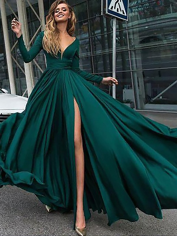 Satin Chiffon V-neck Brush Train Dark Green Prom Dresses