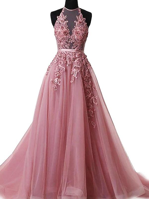Tulle A-Line Brush Train Halter Pink Prom Dresses