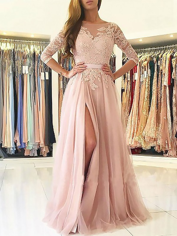 3/4 Sleeves A-Line Bateau Brush Train Pink Prom Dresses