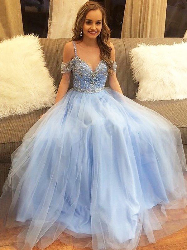 Off-the-Shoulder Floor-Length Light Sky Blue Prom Dresses with Beading