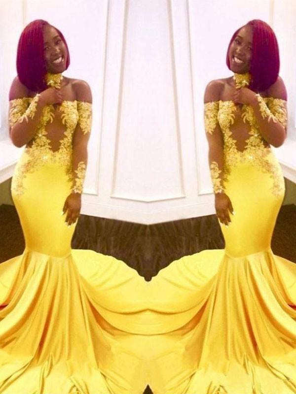 Long Sleeves Mermaid Off-the-Shoulder Brush Train Yellow Prom Dresses