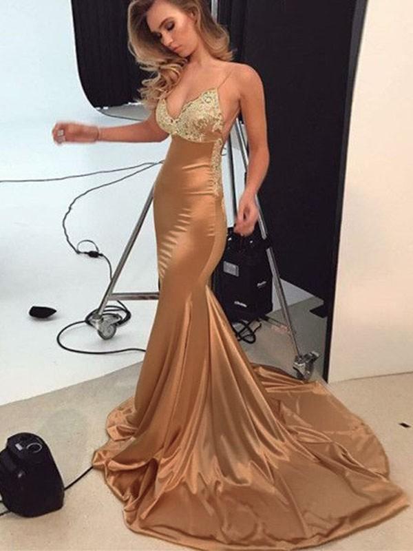 Mermaid Straps Brush Train Pearl Pink Prom Dresses