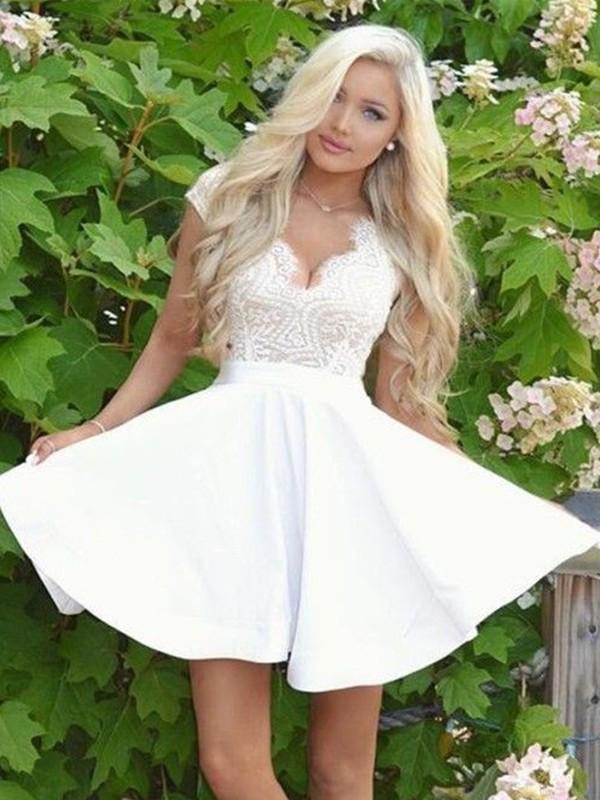Satin Short Sleeves V-neck Short/Mini White Homecoming Dresses