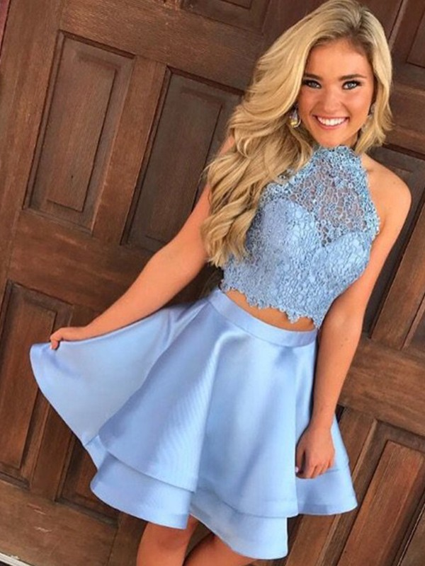 Halter Short/Mini Blue Homecoming Dresses with Lace