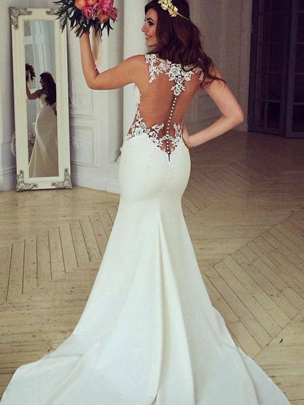 Mermaid Scoop Brush Train Ivory Wedding Dresses