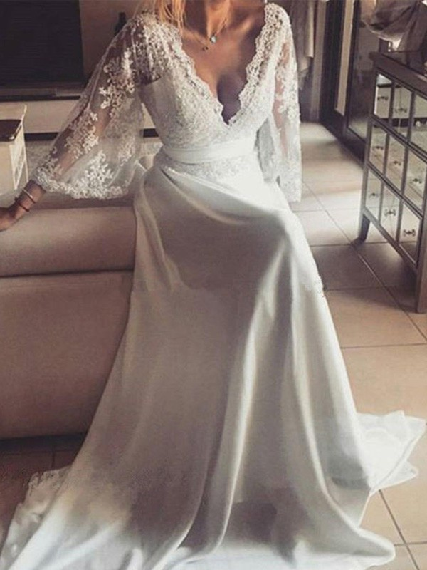 Court Train Ivory Long Sleeves V-neck Wedding Dresses