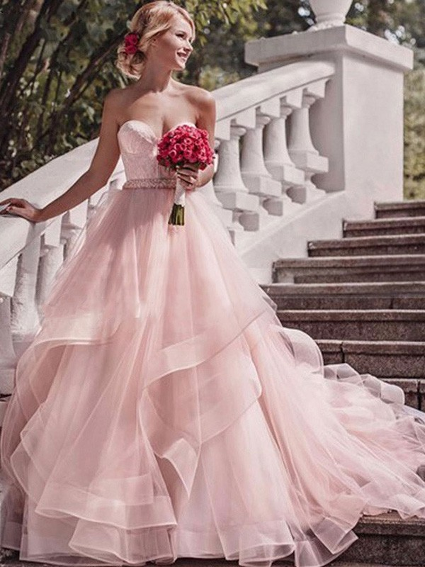 Ball Gown Sweetheart Court Train Pink Wedding Dresses with Layers