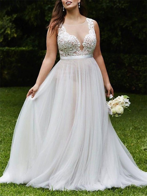 A-Line Scoop Court Train Ivory Wedding Dresses with Lace