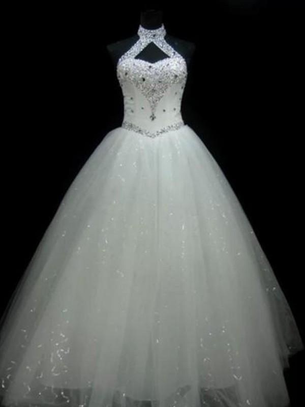 Ball Gown Halter Floor-Length Ivory Wedding Dresses