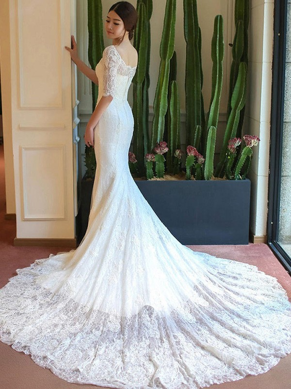 White Square Lace Cathedral Train Wedding Dresses