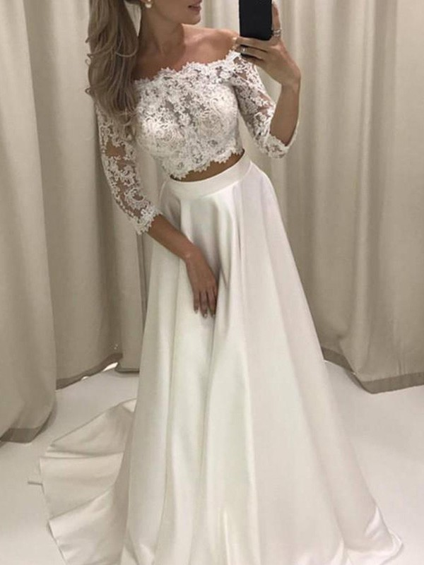 A-Line Satin 3/4 Sleeves Off-the-Shoulder Ivory Wedding Dresses