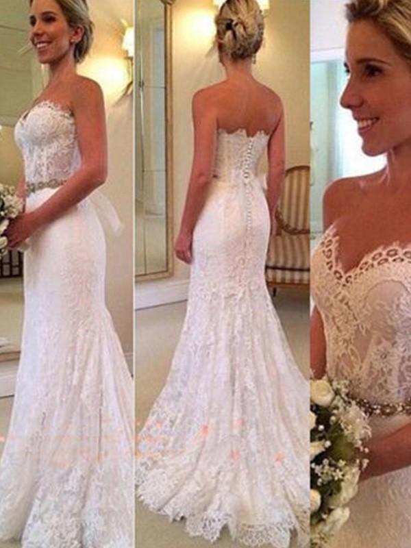 Mermaid Sweetheart Brush Train Ivory Wedding Dresses