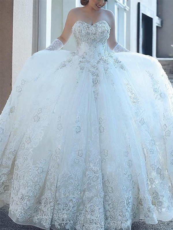 Ball Gown Sweetheart Cathedral Train White Wedding Dresses