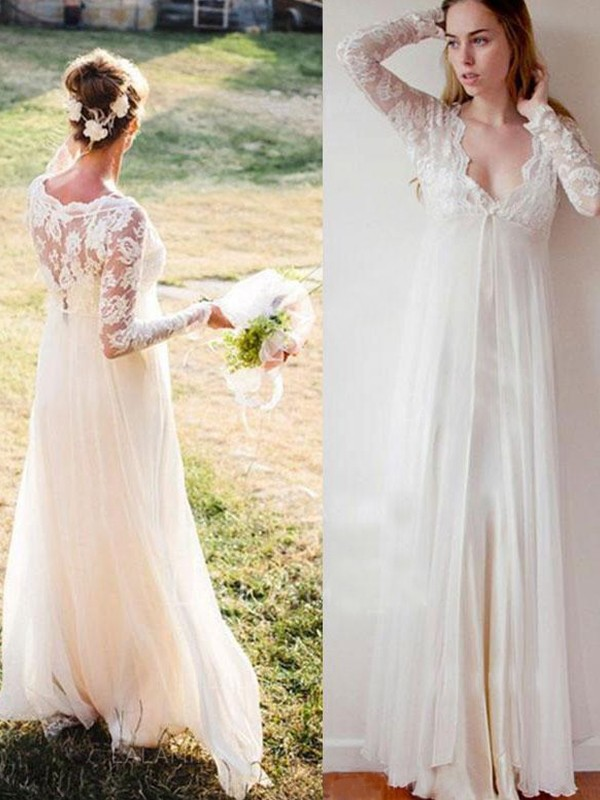 Empire V-neck Floor-Length White Wedding Dresses with Lace