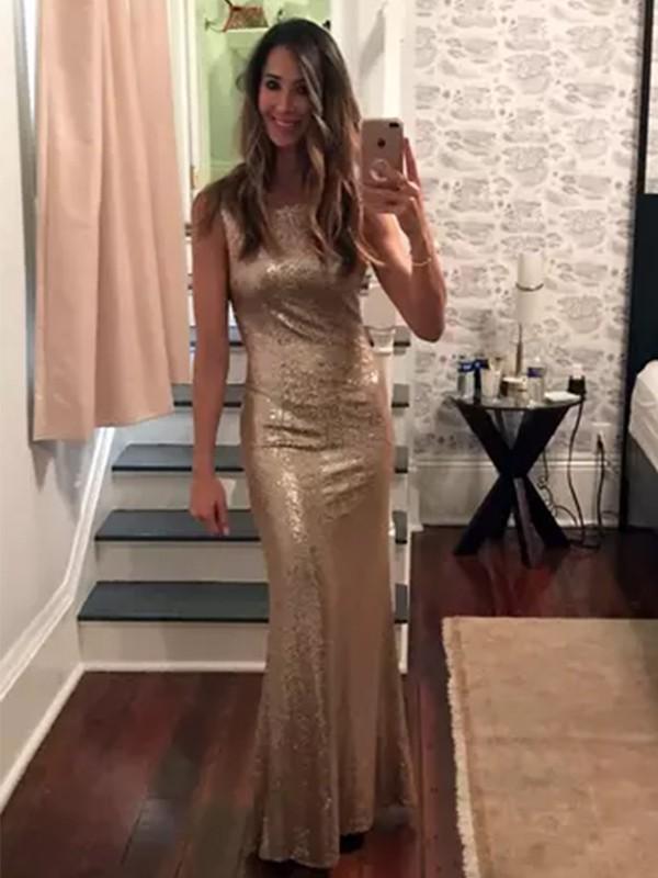 Sheath Sequins Gold Bateau Floor-Length Prom Dresses