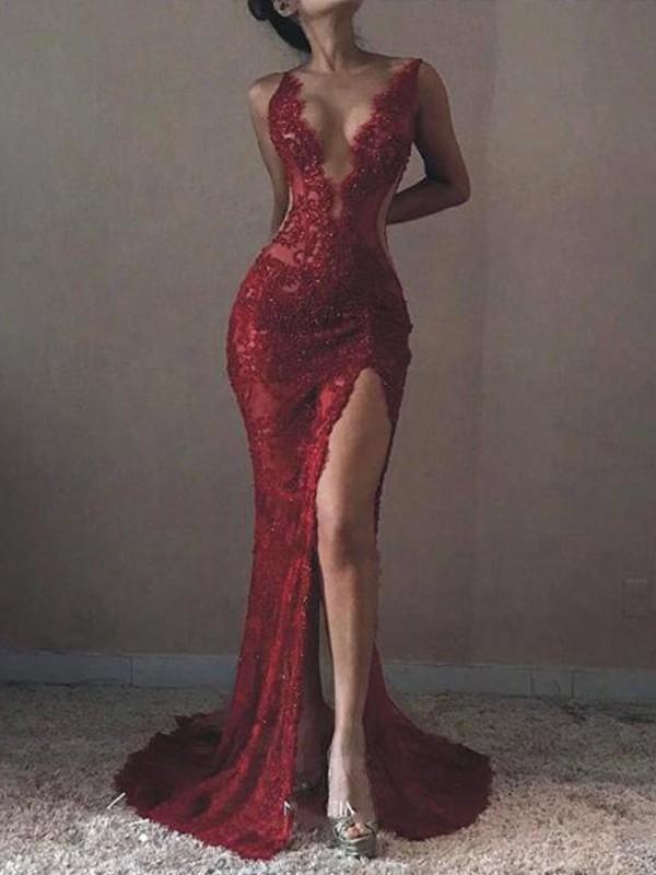 Mermaid V-neck Red Brush Train Lace Tulle Prom Dresses