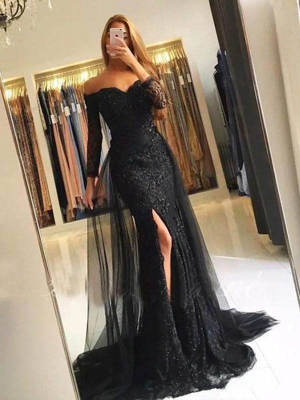 Mermaid Off-the-Shoulder Black Brush Train Tulle Prom Dresses