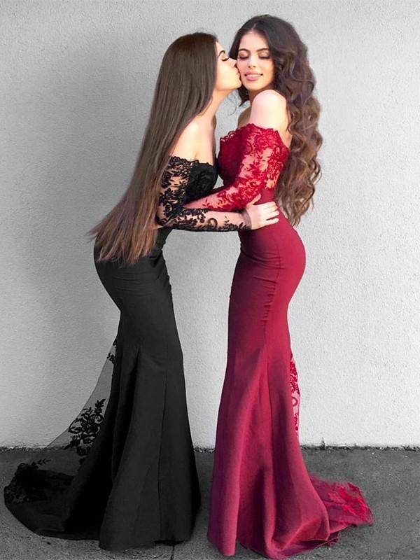 Mermaid Black Brush Train Applique Satin Prom Dresses