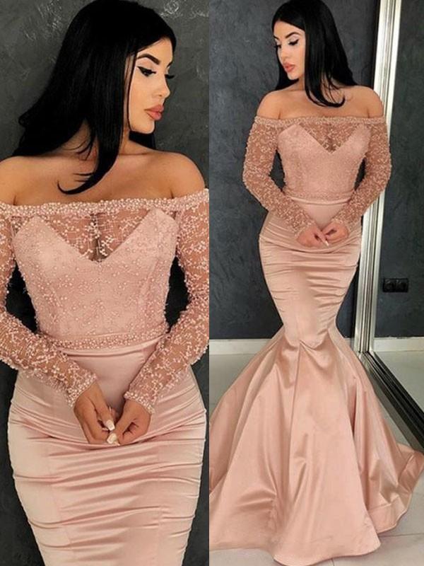 Mermaid Long Sleeves Brush Train Pink Ruffles Satin Prom Dresses