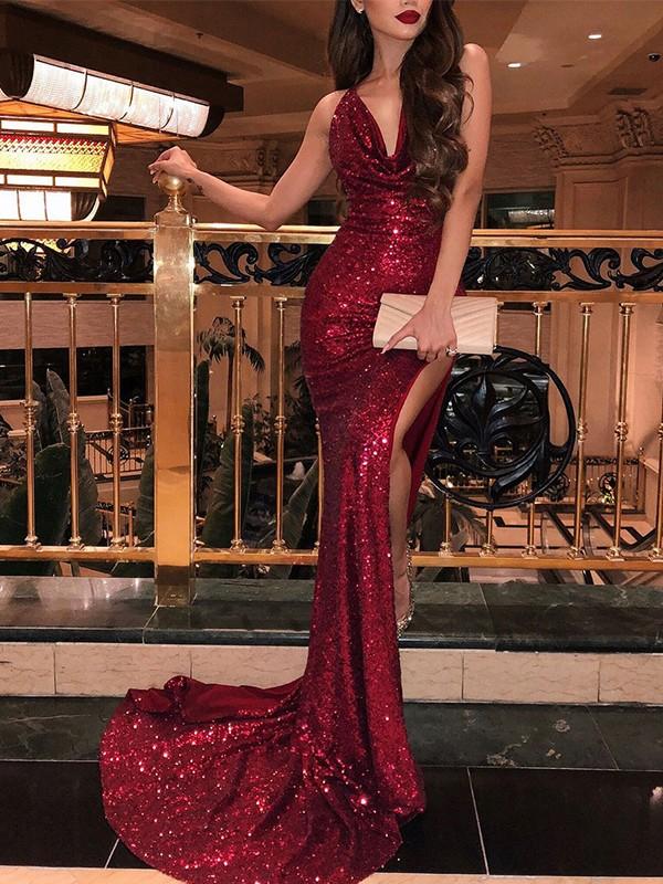 Mermaid Sleeveless V-neck Brush Train Burgundy Sequins Prom Dresses