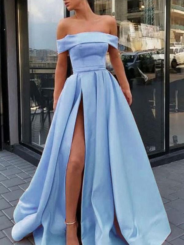 A-Line Sleeveless Brush Train Ruffles Satin Light Sky Blue Prom Dresses