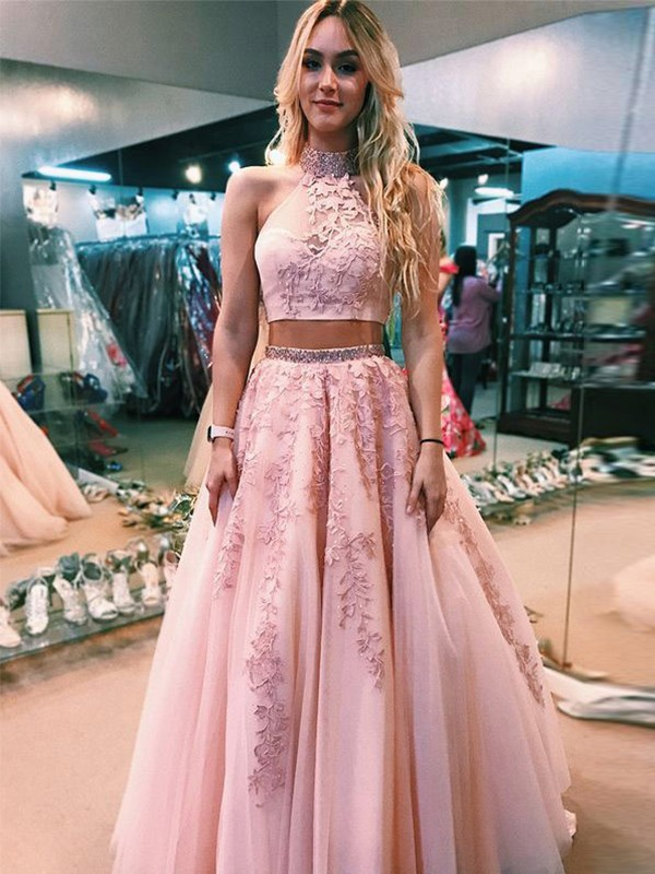 A-Line Halter Floor-Length Applique Tulle Two Piece Prom Dresses