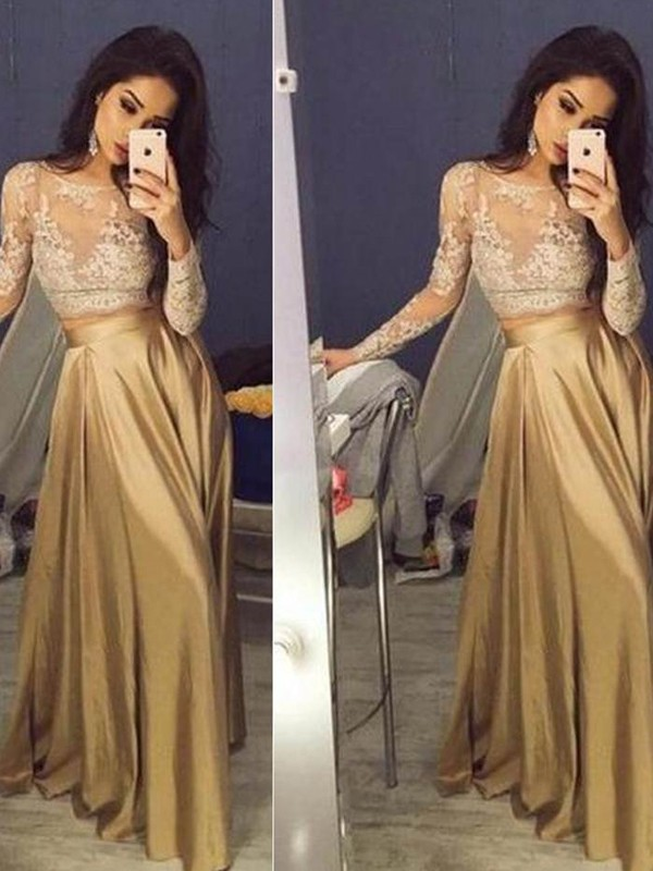 A-Line Scoop Floor-Length Brown Prom Dresses with Applique