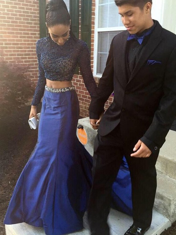 Taffeta Long Sleeves High Neck Court Train Royal Blue Prom Dresses