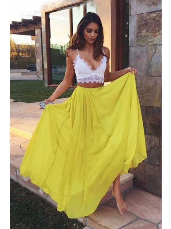 Daffodil A-Line Straps Floor-Length Prom Dresses with Lace