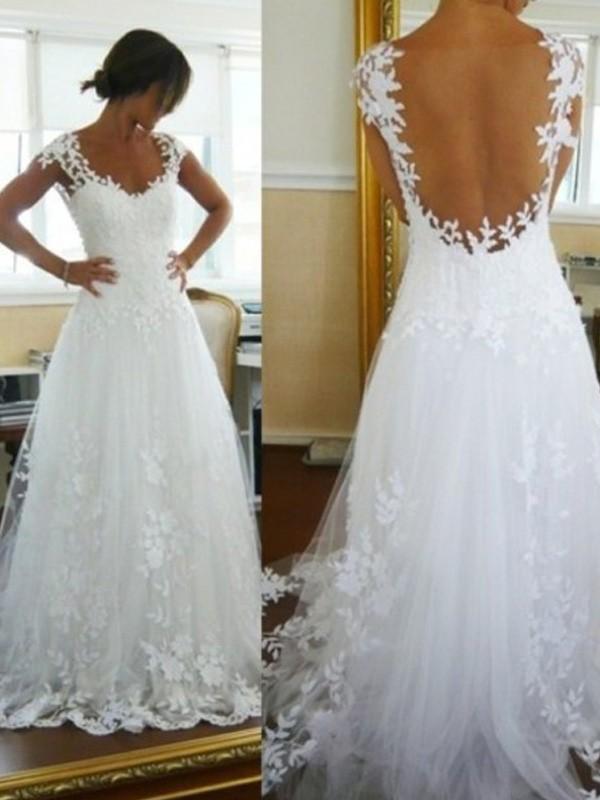 Ivory V-neck Tulle Brush Train Wedding Dresses
