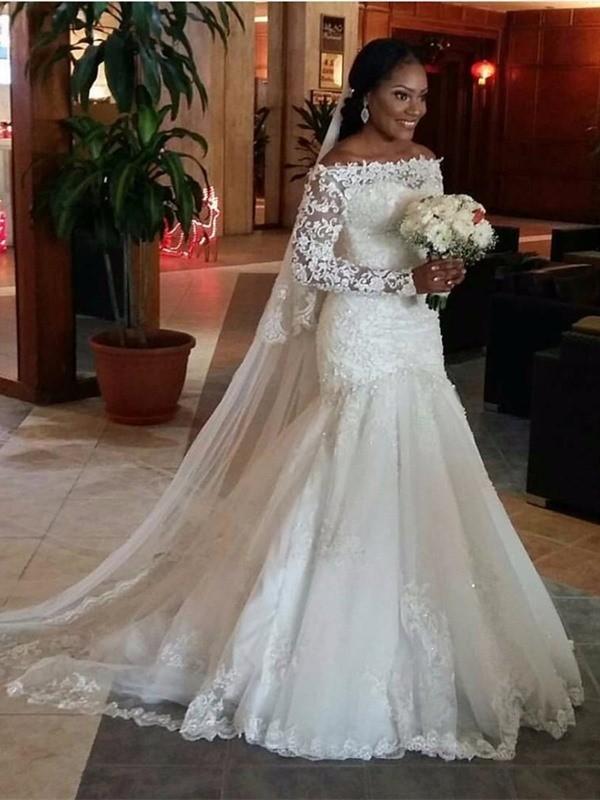 Tulle Off-the-Shoulder Brush Train White Wedding Dresses