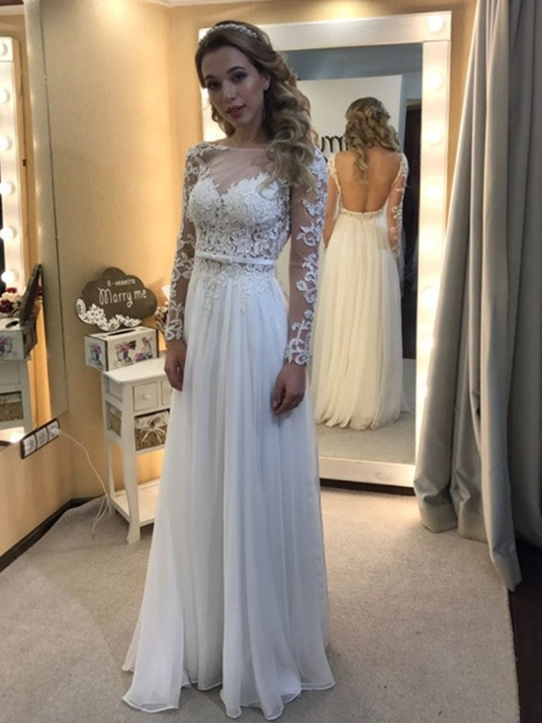 A-Line Bateau Floor-Length White Wedding Dresses