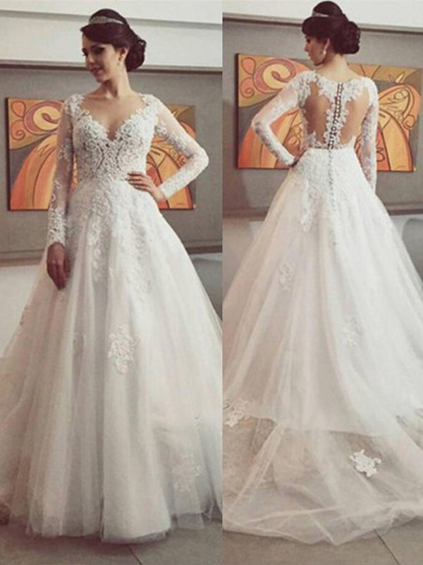 Tulle Long Sleeves V-neck Court Train Wedding Dresses with Lace