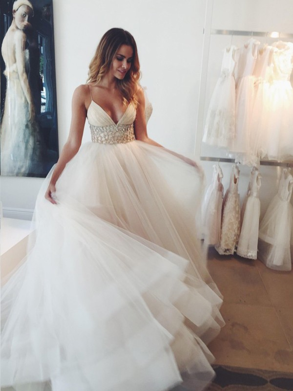 Ball Gown Spaghetti Straps Court Train White Wedding Dresses