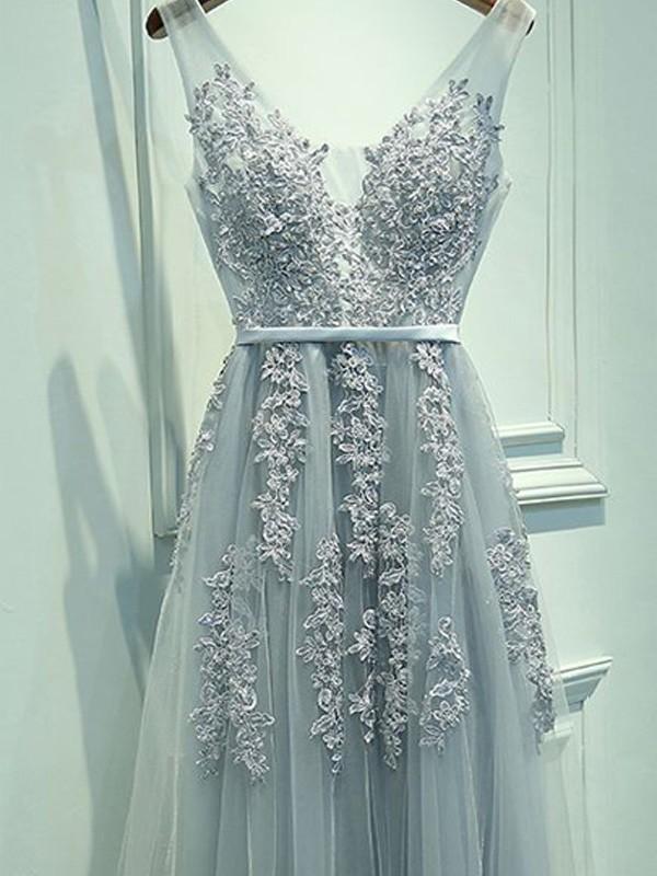 A-Line V-neck Floor-Length Light Sky Blue Prom Dresses